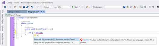 Visual Studio 2017 C# version selector