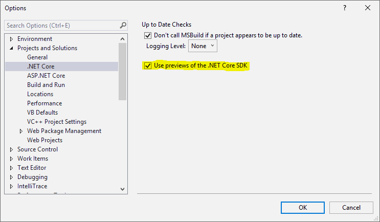 Visual Studio 2019 .NET Core settings